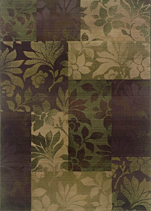 Purple, Green Floral / Botanical Area Rug