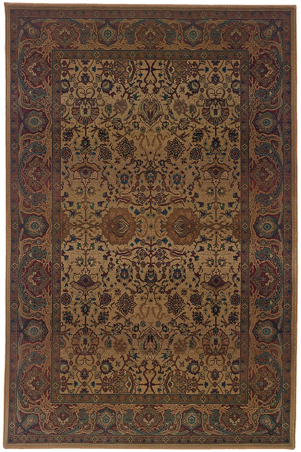 Beige, Red (332W) Traditional / Oriental Area Rug