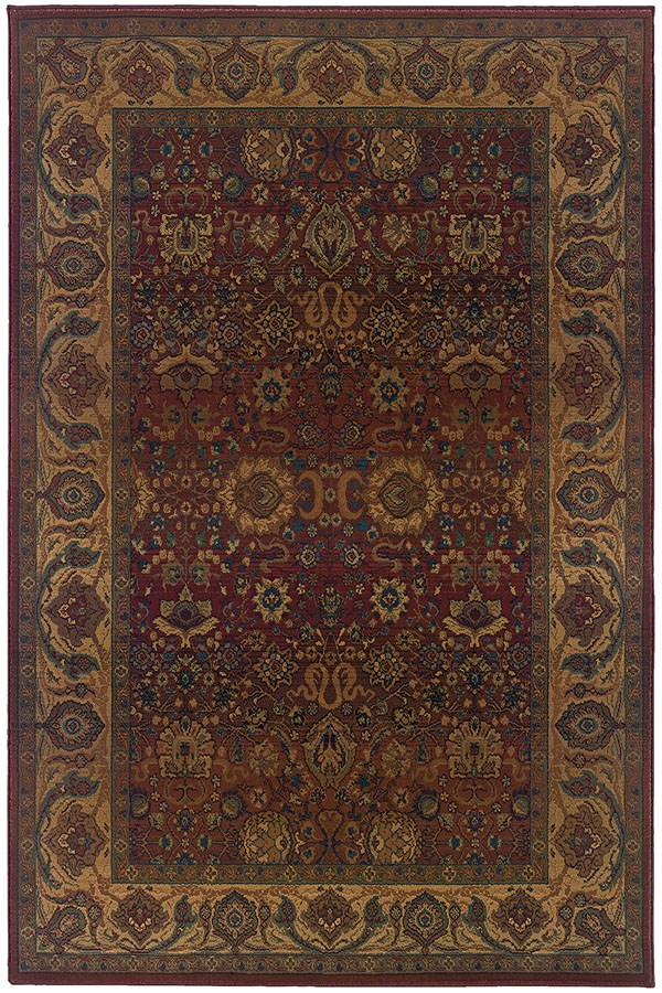 Red, Gold (332C) Traditional / Oriental Area Rug