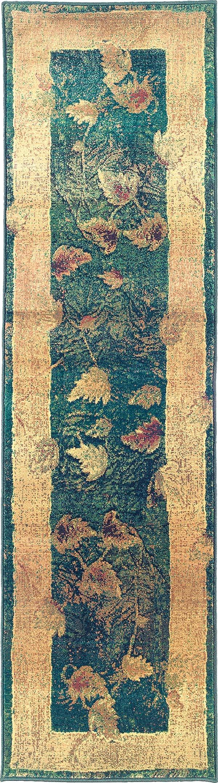 Blue, Gold  Floral / Botanical Area Rug