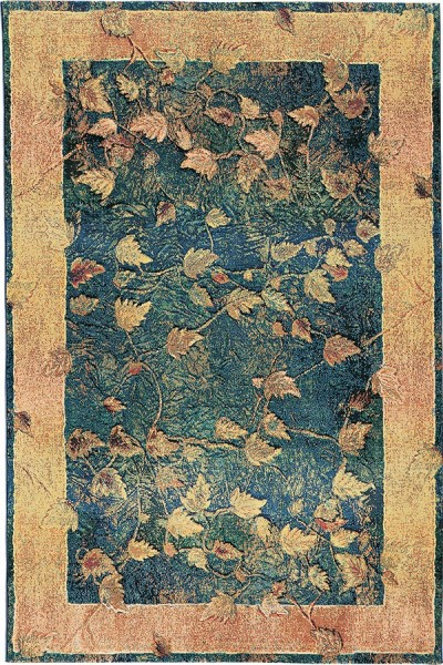 Blue, Gold  Floral / Botanical Area Rug