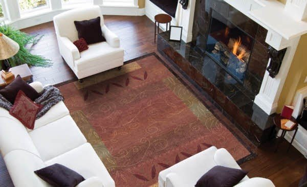 Red, Gold Transitional Area Rug