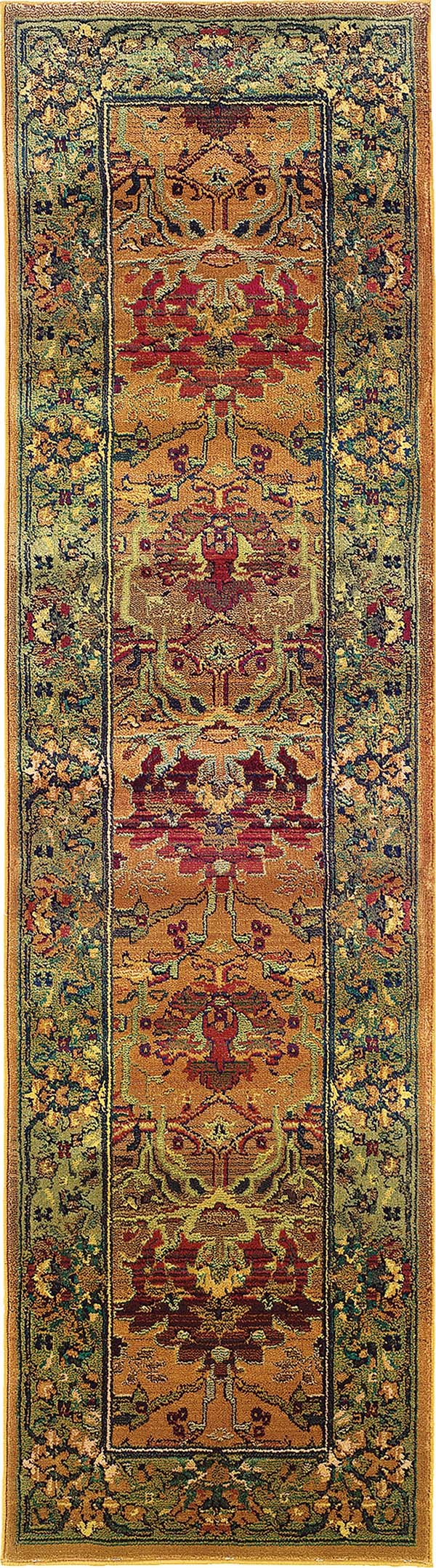 Green, Beige Traditional / Oriental Area Rug