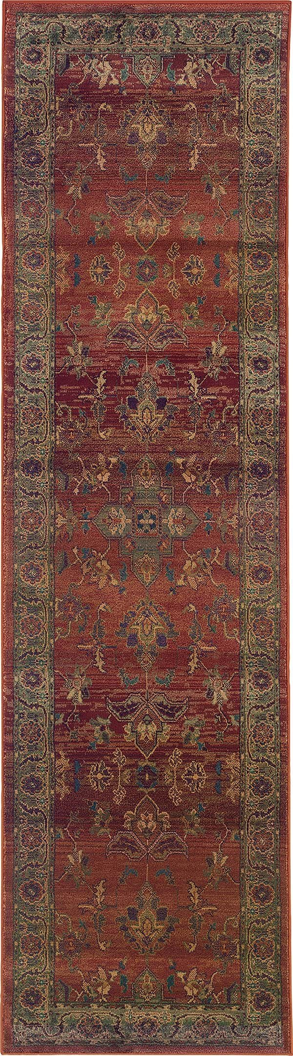 Red, Green Traditional / Oriental Area Rug