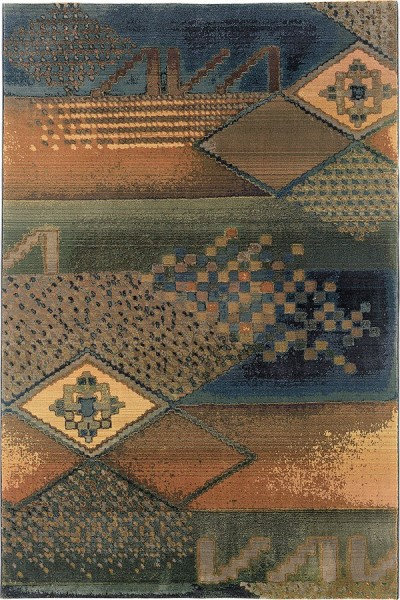 Blue, Green (618F4) Transitional Area Rug