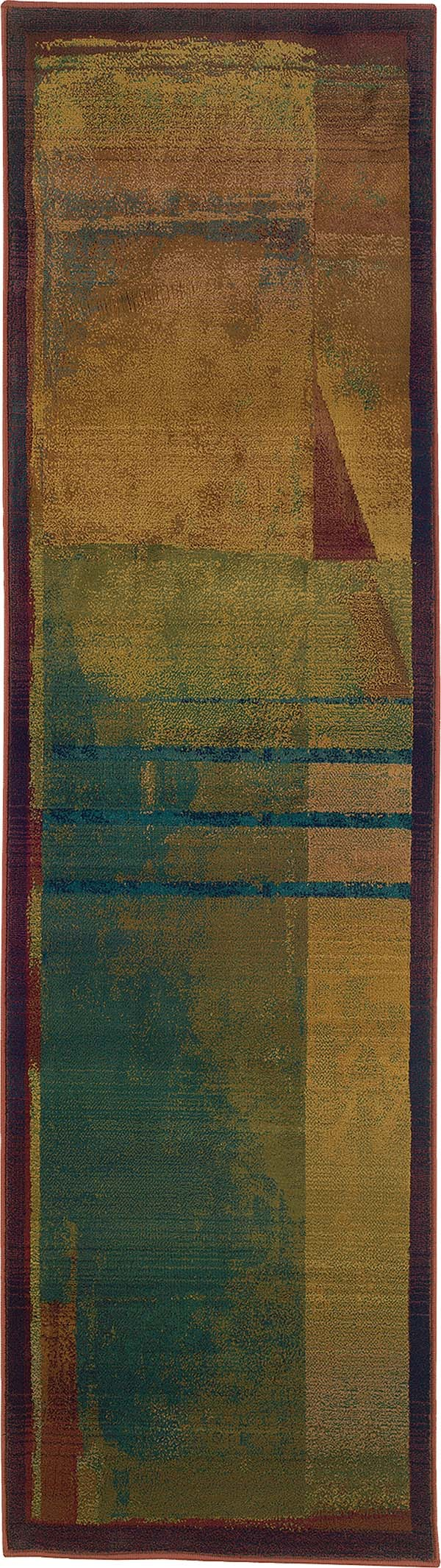 Red, Green (890X) Contemporary / Modern Area Rug