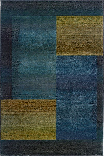 Blue, Gold (1092L) Contemporary / Modern Area Rug