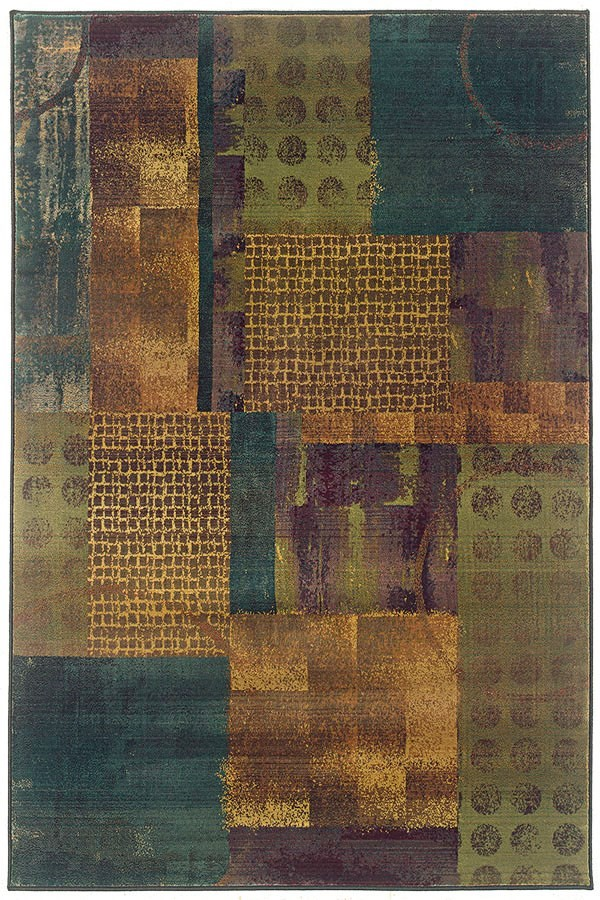 Blue, Green (703X) Contemporary / Modern Area Rug