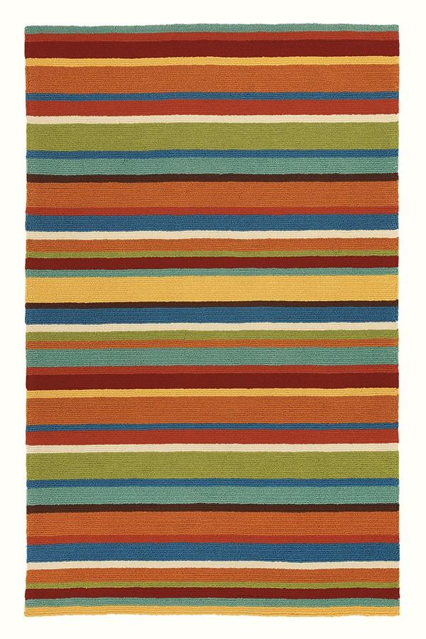 Orange (18987) Striped Area Rug