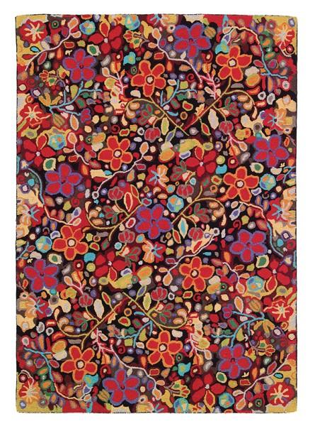 Black (18046) Floral / Botanical Area Rug