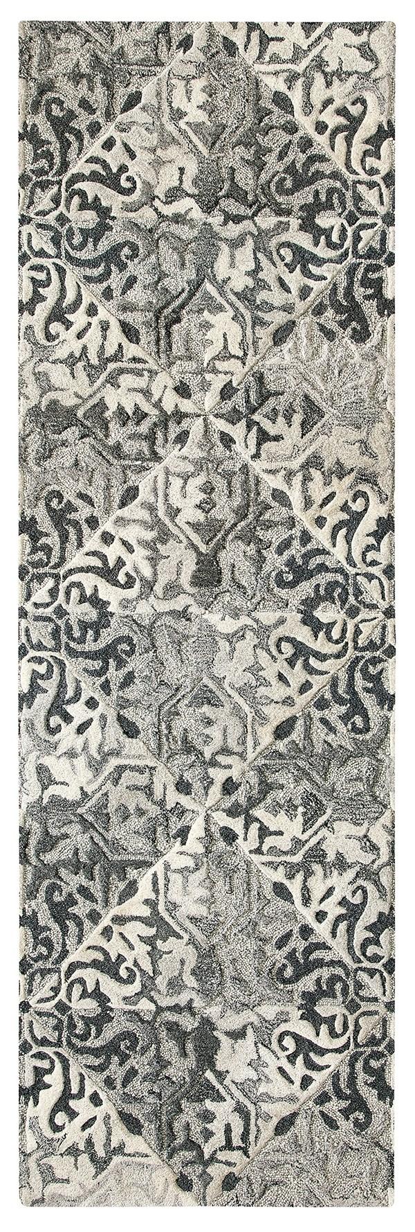 Black (10755) Damask Area Rug