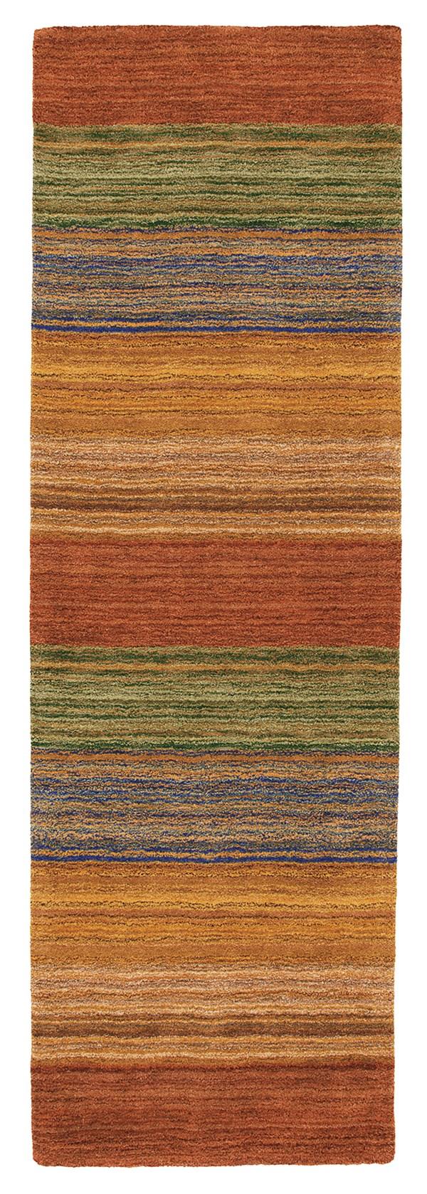 Rust (18695) Striped Area Rug