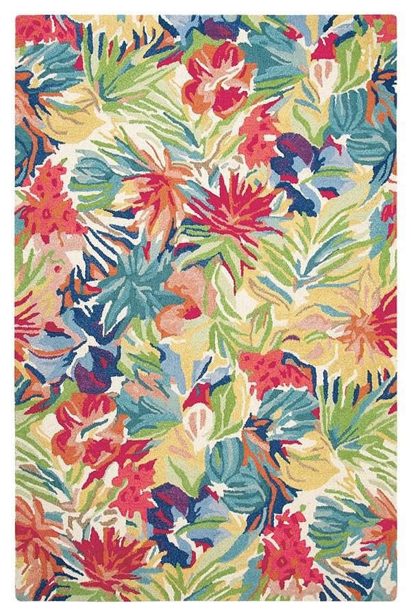Green, Blue (10768) Floral / Botanical Area Rug