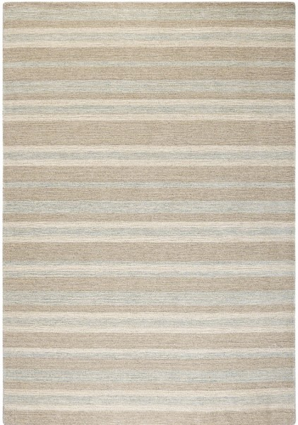 Brown, Cream, Aqua Striped Area Rug