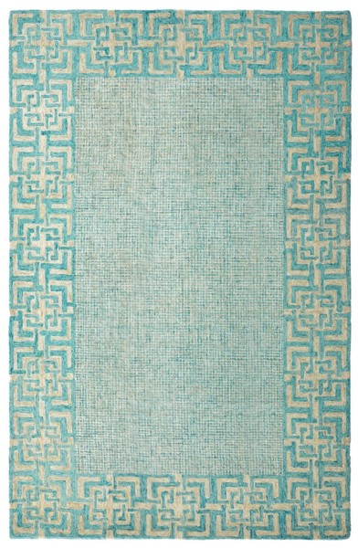 Green, Blue, Ivory Bordered Area Rug