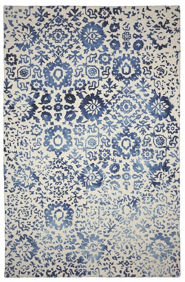 Navy, Blue, Cream Floral / Botanical Area Rug