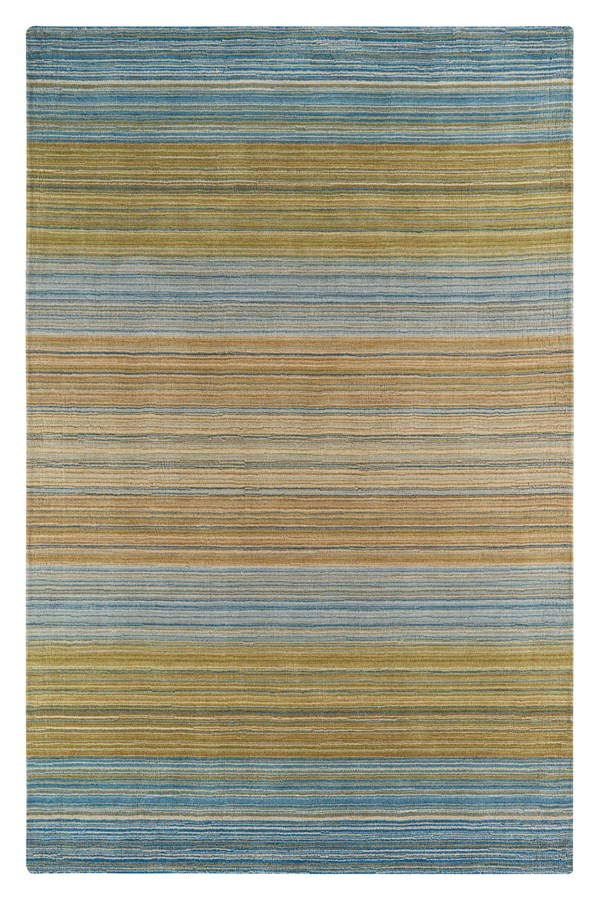 Green, Yellow, Blue Striped Area Rug