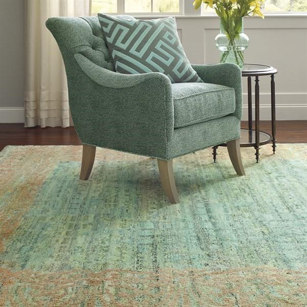 Green, Tan, Blue Contemporary / Modern Area Rug