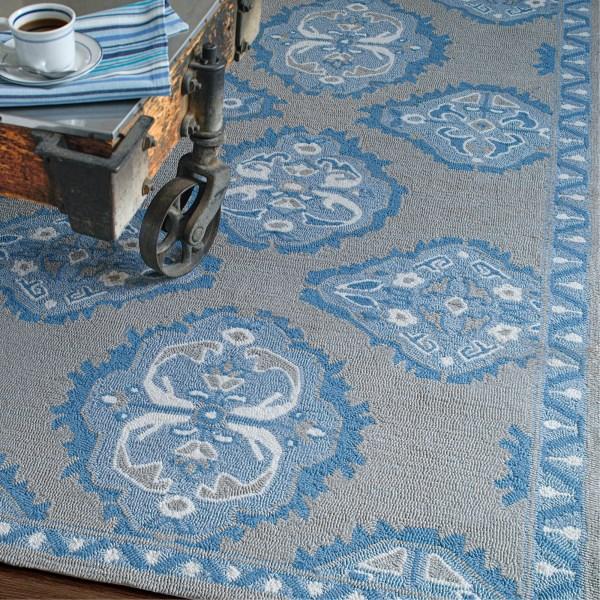 Blue, Grey, Cream Traditional / Oriental Area Rug