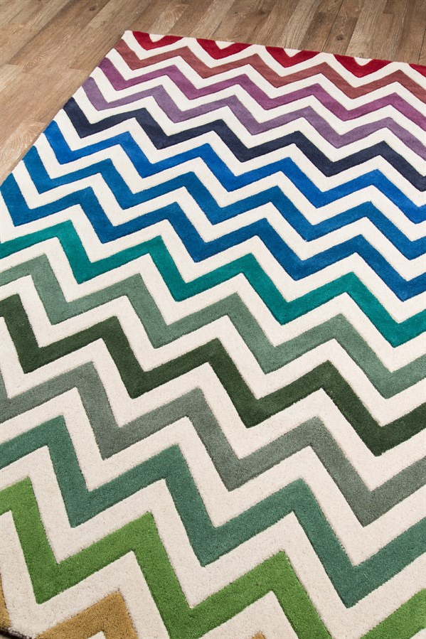 Ivory, Green, Blue Contemporary / Modern Area Rug