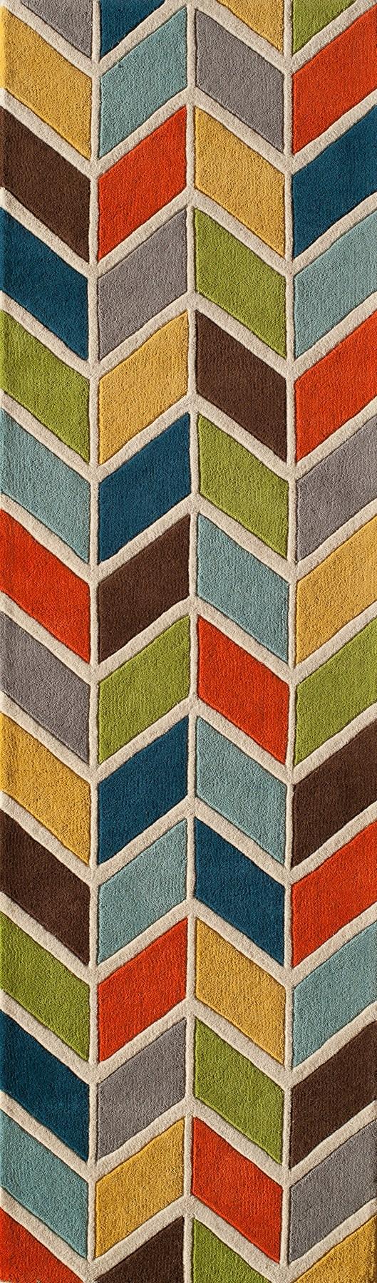 Blue, Orange, Green Contemporary / Modern Area Rug