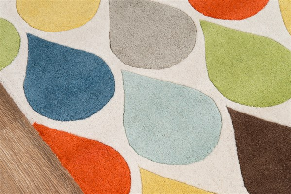 Blue, Yellow, Green, Teal Contemporary / Modern Area Rug