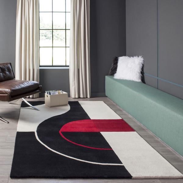 Black Contemporary / Modern Area Rug