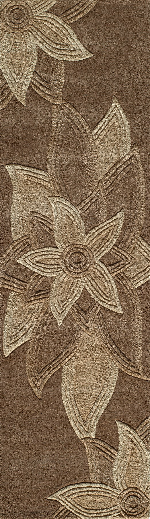 Mocha Floral / Botanical Area Rug
