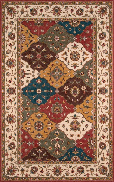 Ivory, Chocolate Brown, Light Green Traditional / Oriental Area Rug
