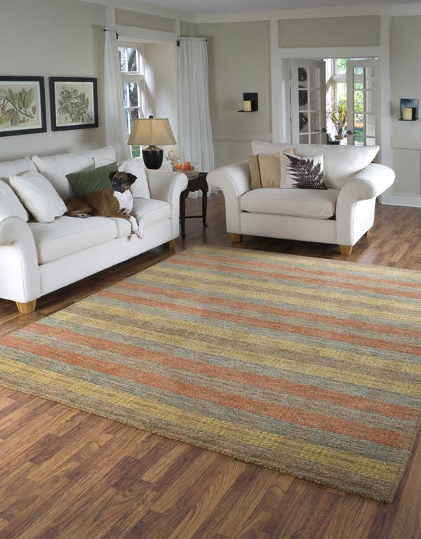 Brown, Gold, Rust Striped Area Rug