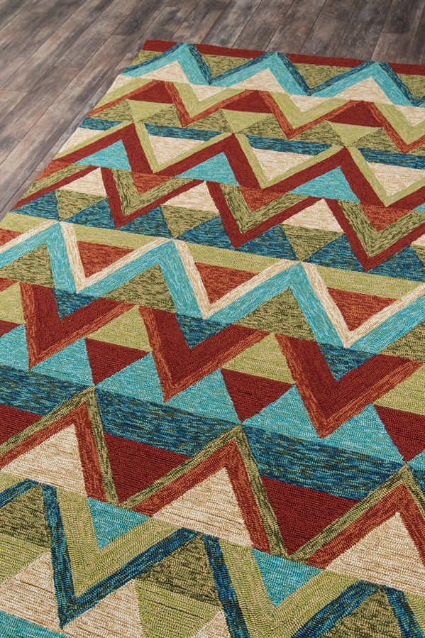 Green, Red, Aqua Southwestern / Lodge Area Rug
