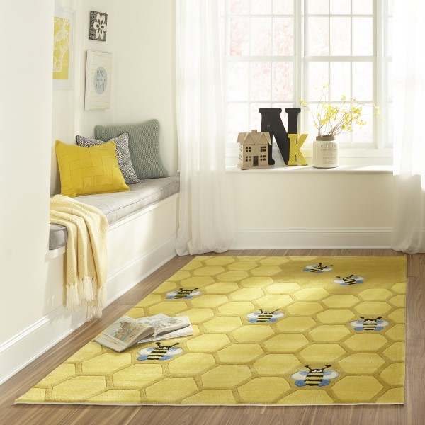 Honeycomb Gold Children's / Kids Area Rug
