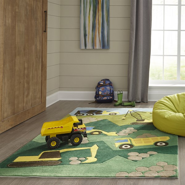 Green, Brown Children's / Kids Area Rug