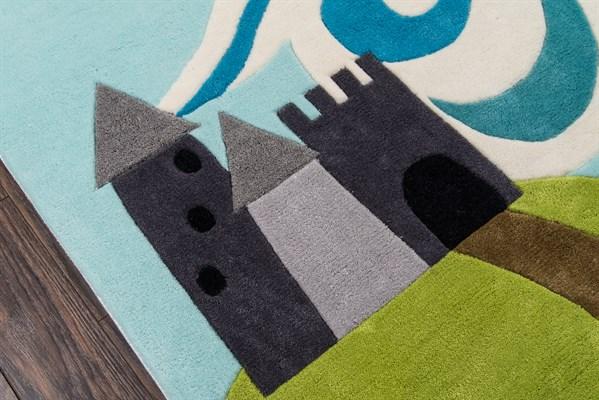 Sky Blue, Green, Grey Children's / Kids Area Rug