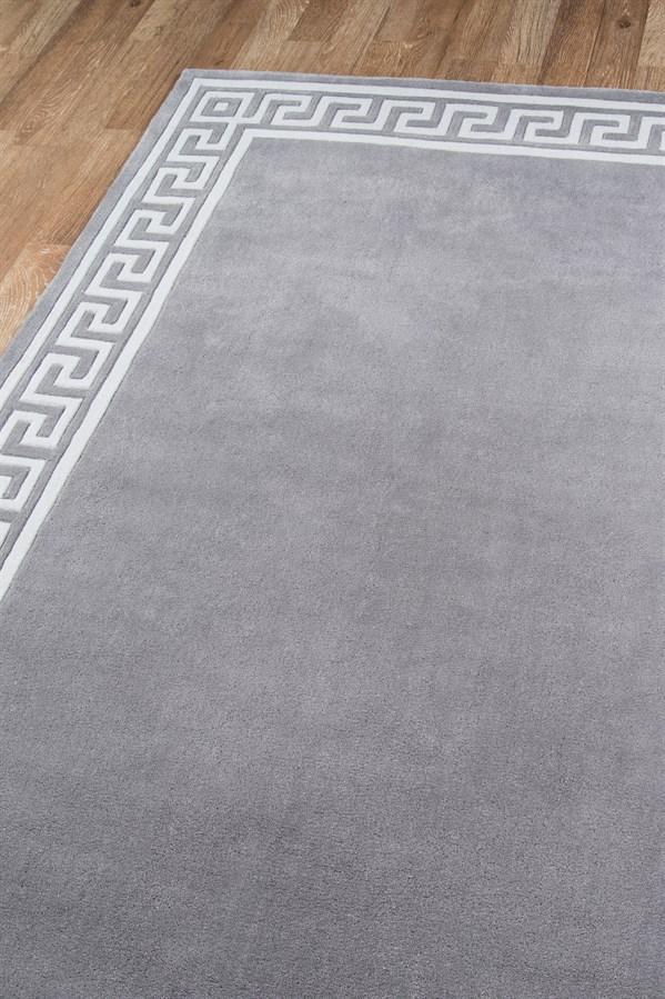 Grey Bordered Area Rug