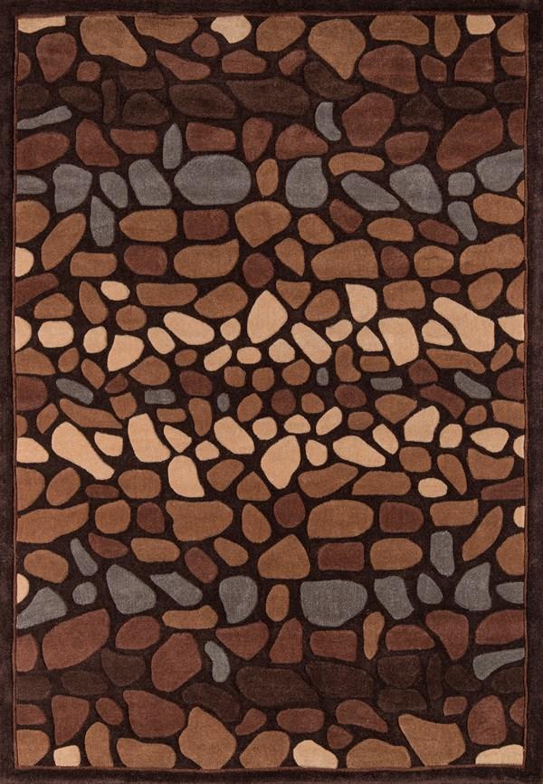 Blue, Brown, Dark Sand Contemporary / Modern Area Rug