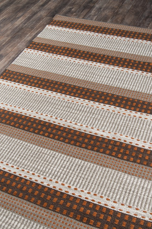 Rust Striped Area Rug