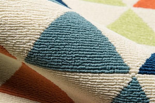 Ivory, Green, Orange Outdoor / Indoor Area Rug