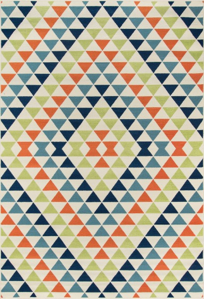 Ivory, Green, Orange Contemporary / Modern Area Rug