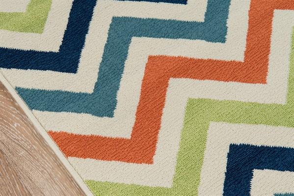 Navy, Green, Orange Outdoor / Indoor Area Rug