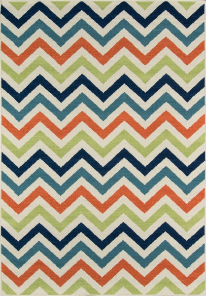 Navy, Green, Orange Chevron Area Rug