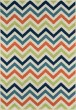 Product Image of Chevron Navy, Green, Orange Area Rug
