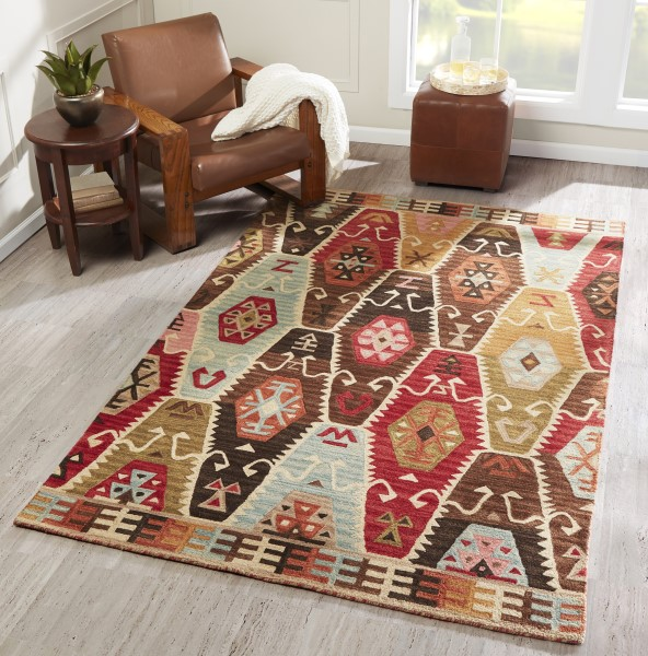 Red, Light Blue, Brown, Gold Bohemian Area Rug
