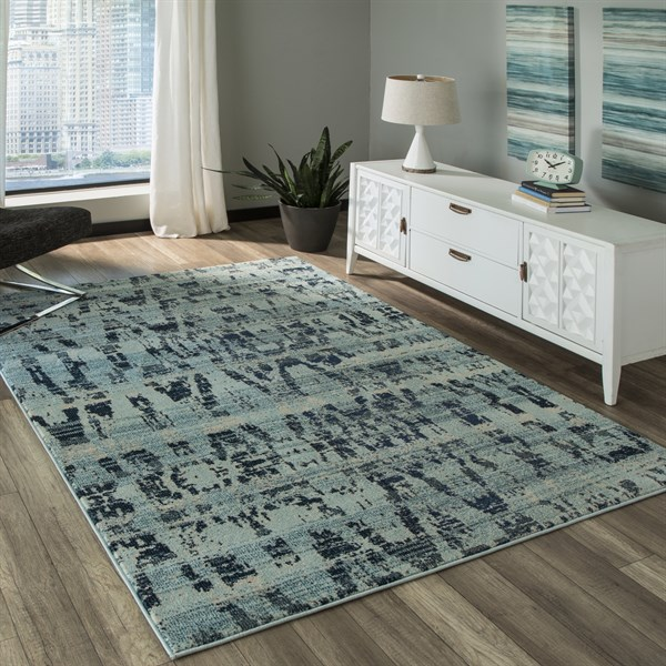 Ocean Blue Transitional Area Rug