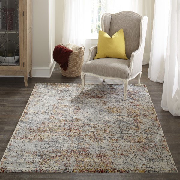 Grey, Red, Yellow Contemporary / Modern Area Rug