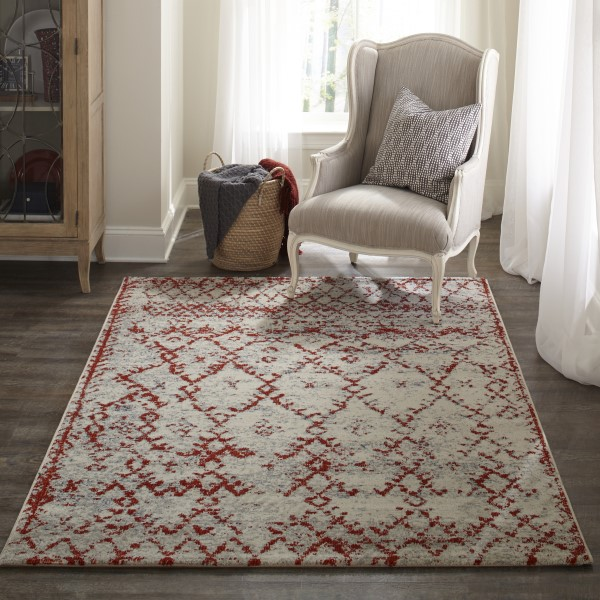 Rust, Ivory Moroccan Area Rug