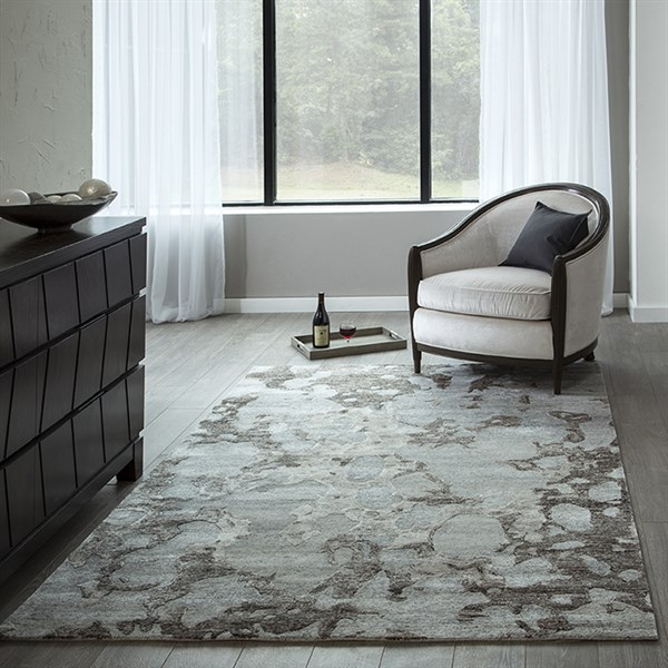 Grey, Brown Transitional Area Rug