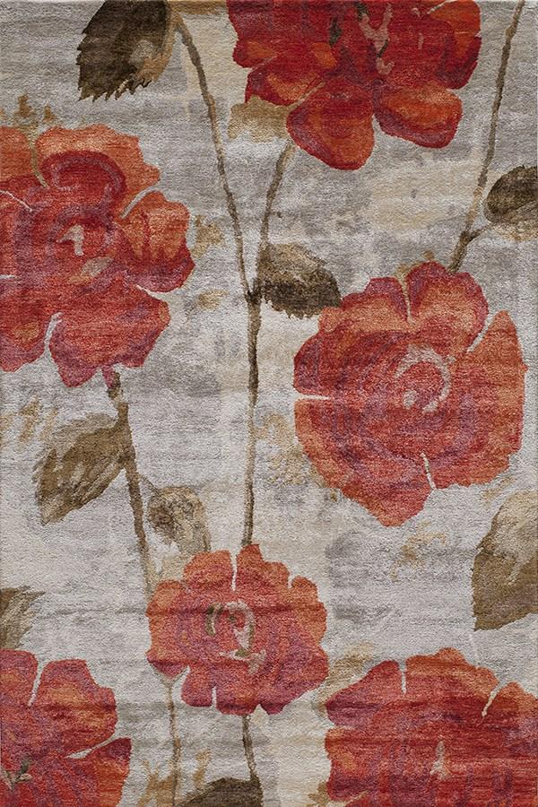 Red, Brown Floral / Botanical Area Rug