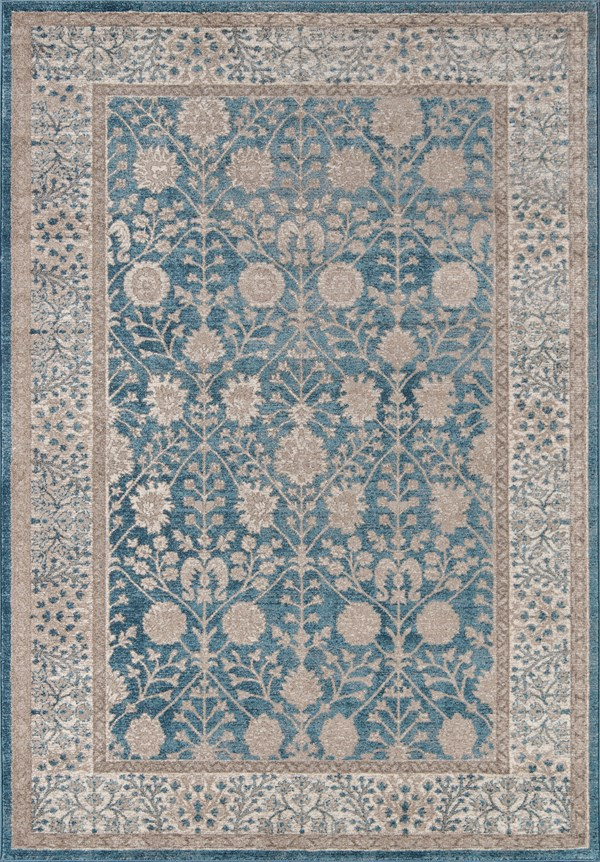 Blue, Silver  Traditional / Oriental Area Rug