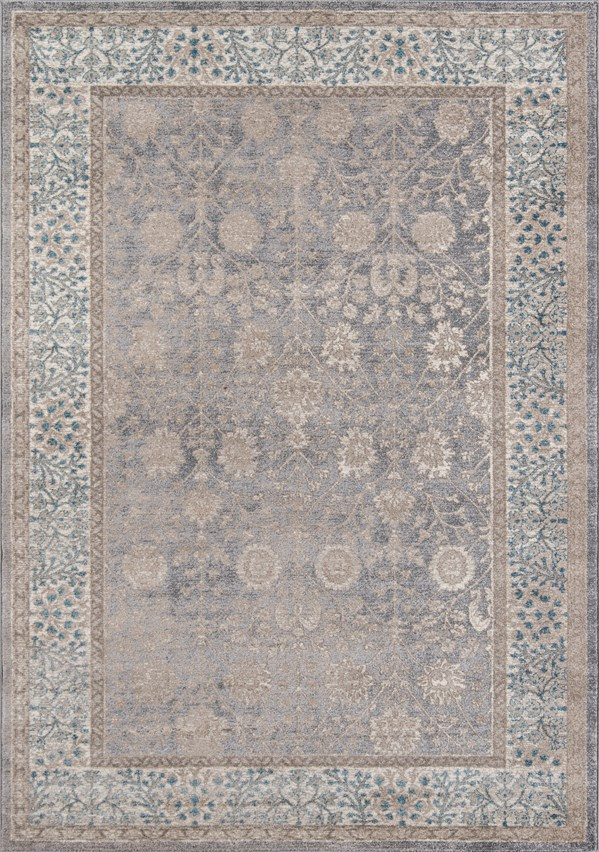 Silver, Blue Traditional / Oriental Area Rug